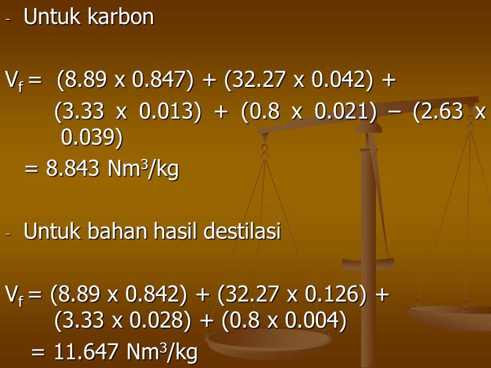 Untuk karbon Vf = (8.89 x 0.847) + (32.27 x 0.042) + (3.33 x 0.013) + (0.8 x 0.021) – (2.63 x 0.039)