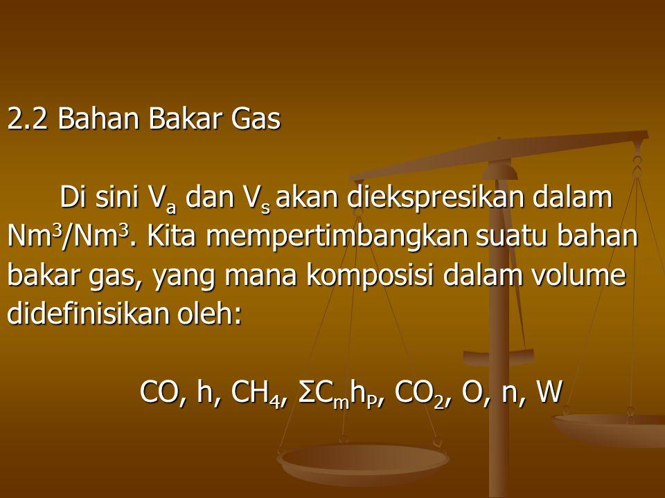 2.2 Bahan Bakar Gas Di sini Va dan Vs akan diekspresikan dalam. Nm3/Nm3. Kita mempertimbangkan suatu bahan.