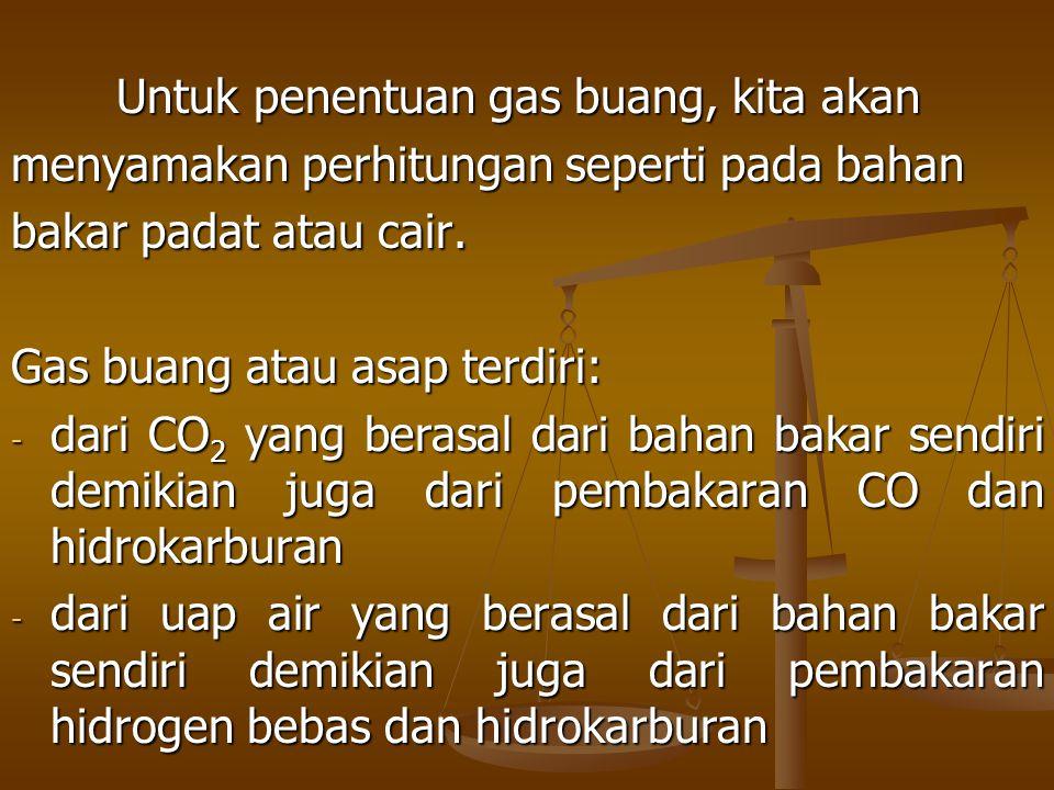 Untuk penentuan gas buang, kita akan