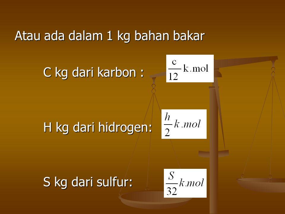 Atau ada dalam 1 kg bahan bakar C kg dari karbon :