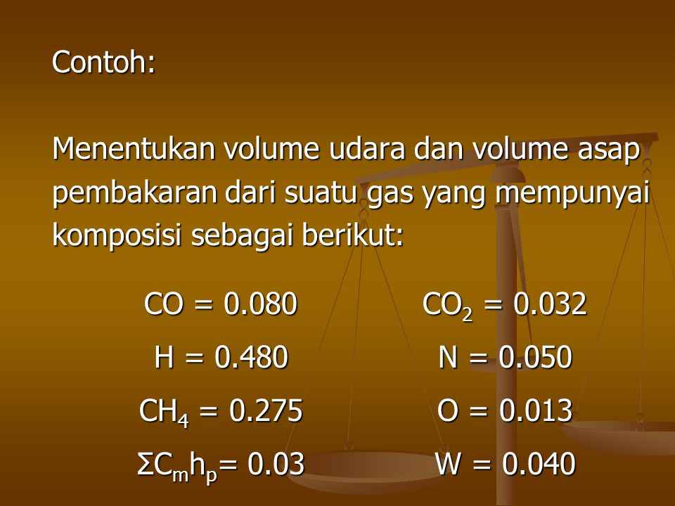 Contoh: Menentukan volume udara dan volume asap. pembakaran dari suatu gas yang mempunyai. komposisi sebagai berikut: