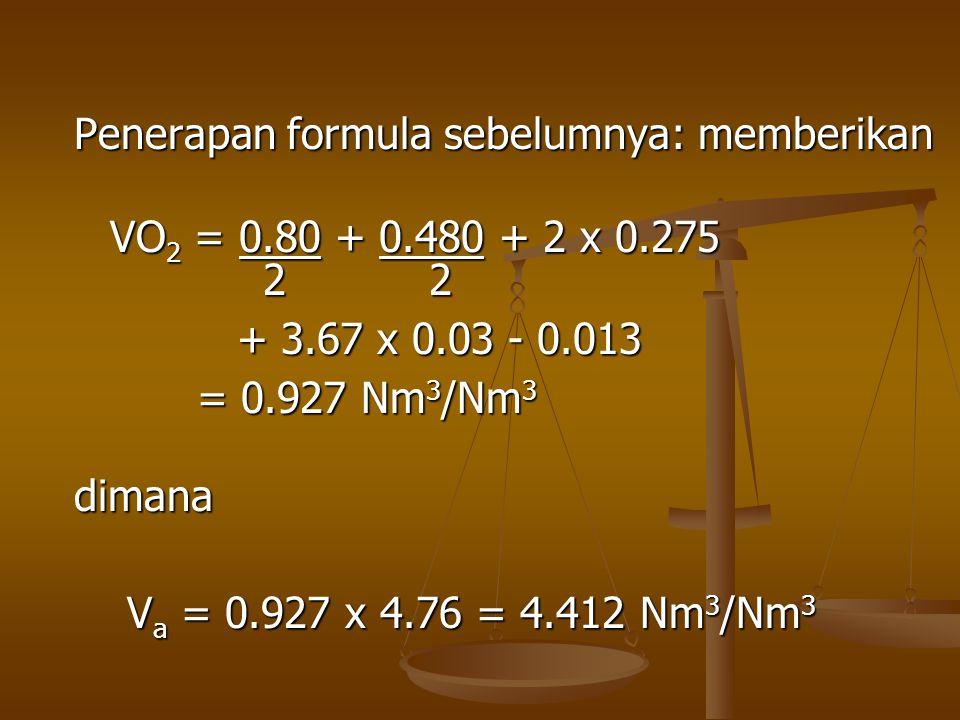 Penerapan formula sebelumnya: memberikan