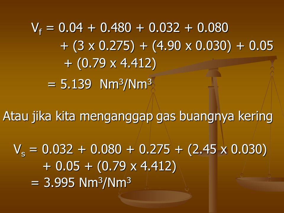 Vf = 0.04 + 0.480 + 0.032 + 0.080 + (3 x 0.275) + (4.90 x 0.030) + 0.05. + (0.79 x 4.412) = 5.139 Nm3/Nm3.