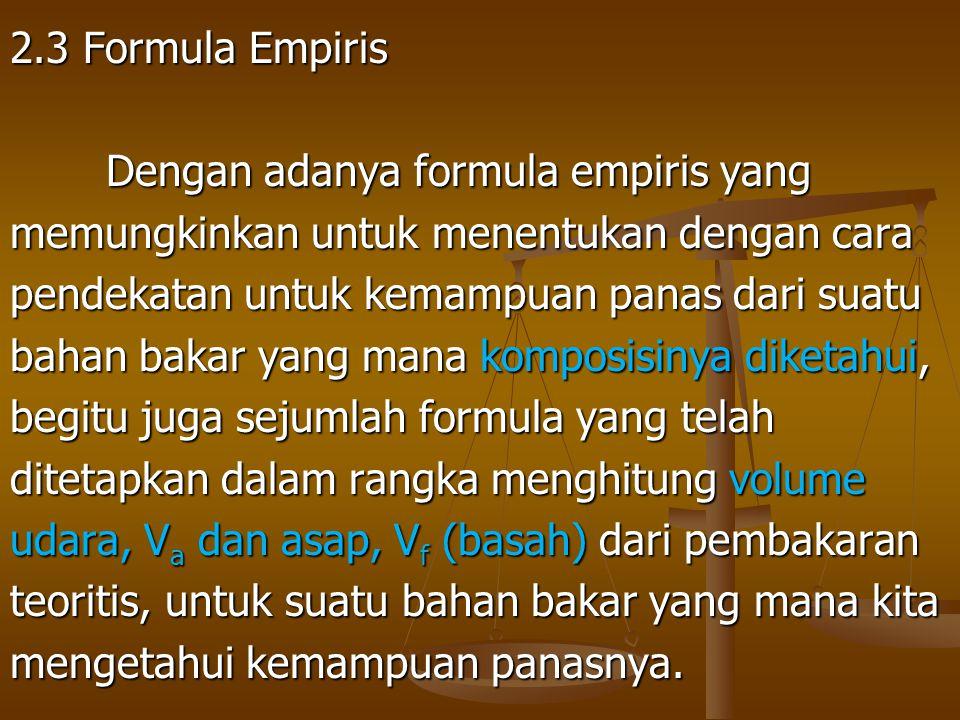 2.3 Formula Empiris Dengan adanya formula empiris yang. memungkinkan untuk menentukan dengan cara.