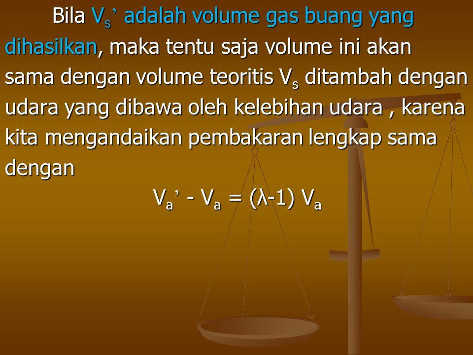 Bila Vs' adalah volume gas buang yang