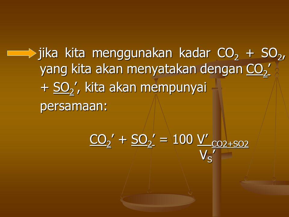 + SO2', kita akan mempunyai persamaan: CO2' + SO2' = 100 V' CO2+SO2