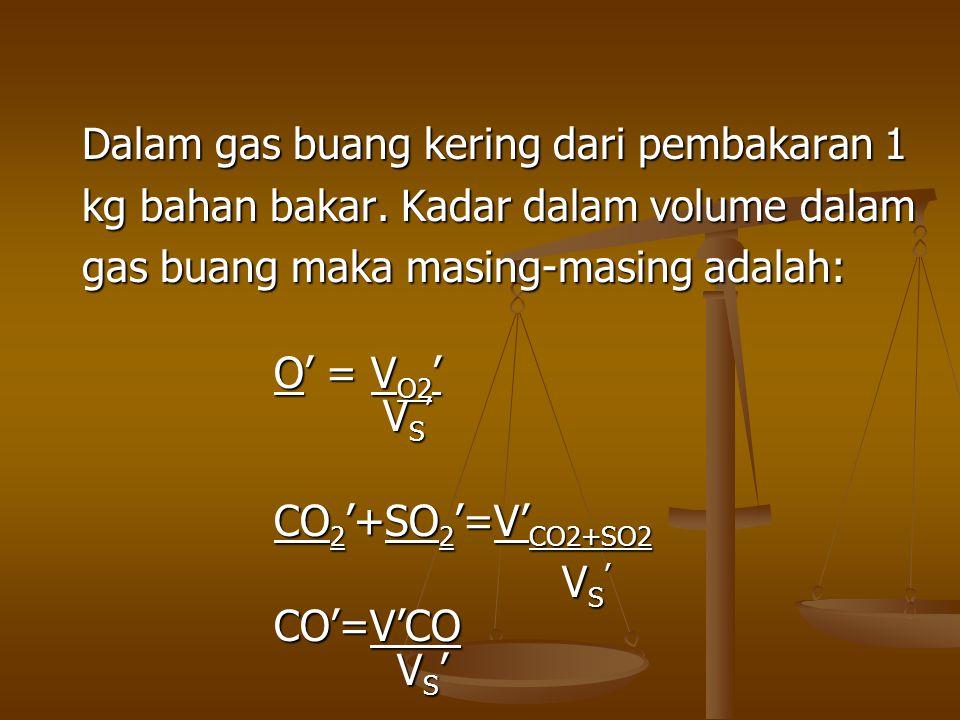 Dalam gas buang kering dari pembakaran 1