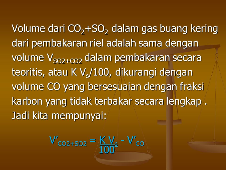 Volume dari CO2+SO2 dalam gas buang kering