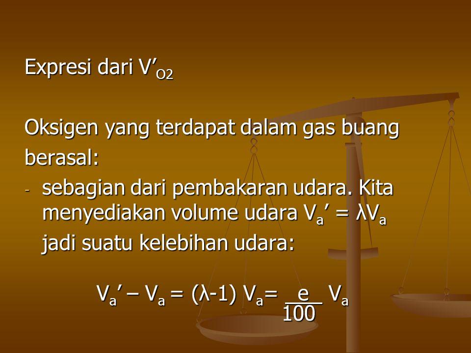 Expresi dari V'O2 Oksigen yang terdapat dalam gas buang. berasal: sebagian dari pembakaran udara. Kita menyediakan volume udara Va' = λVa.