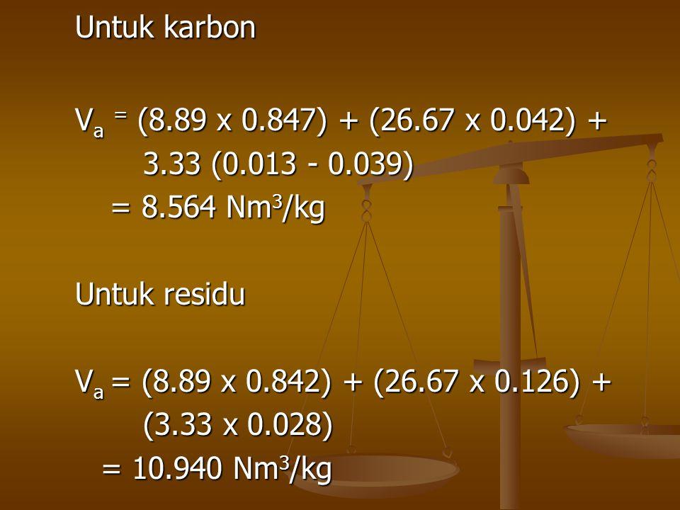 Untuk karbon Va = (8.89 x 0.847) + (26.67 x 0.042) + 3.33 (0.013 - 0.039) = 8.564 Nm3/kg. Untuk residu.