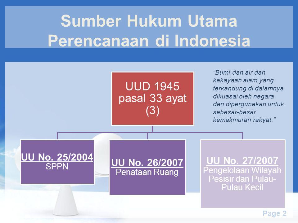 Sumber Hukum Utama Perencanaan di Indonesia