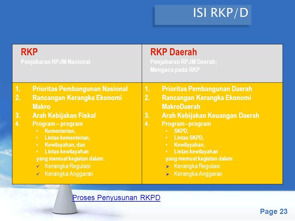 ISI RKP/D RKP RKP Daerah Prioritas Pembangunan Nasional