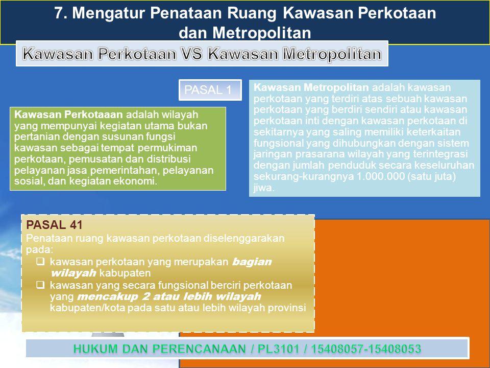 7. Mengatur Penataan Ruang Kawasan Perkotaan