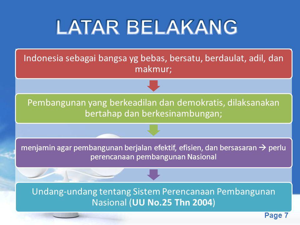 LATAR BELAKANG Indonesia sebagai bangsa yg bebas, bersatu, berdaulat, adil, dan makmur;