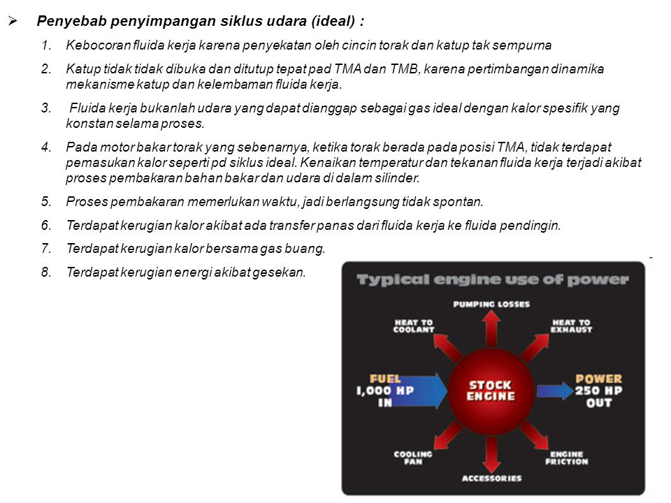 Penyebab penyimpangan siklus udara (ideal) :
