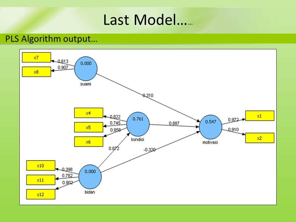 Last Model…… PLS Algorithm output…