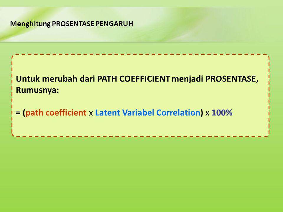 Untuk merubah dari PATH COEFFICIENT menjadi PROSENTASE, Rumusnya:
