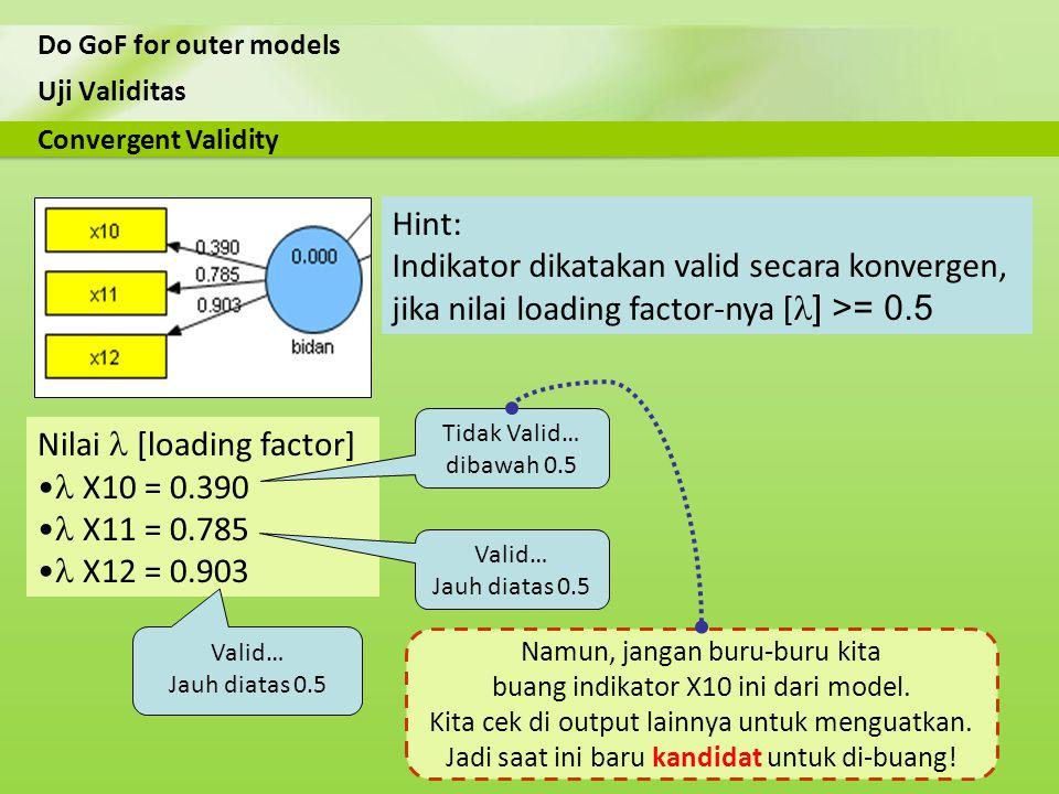 Indikator dikatakan valid secara konvergen,