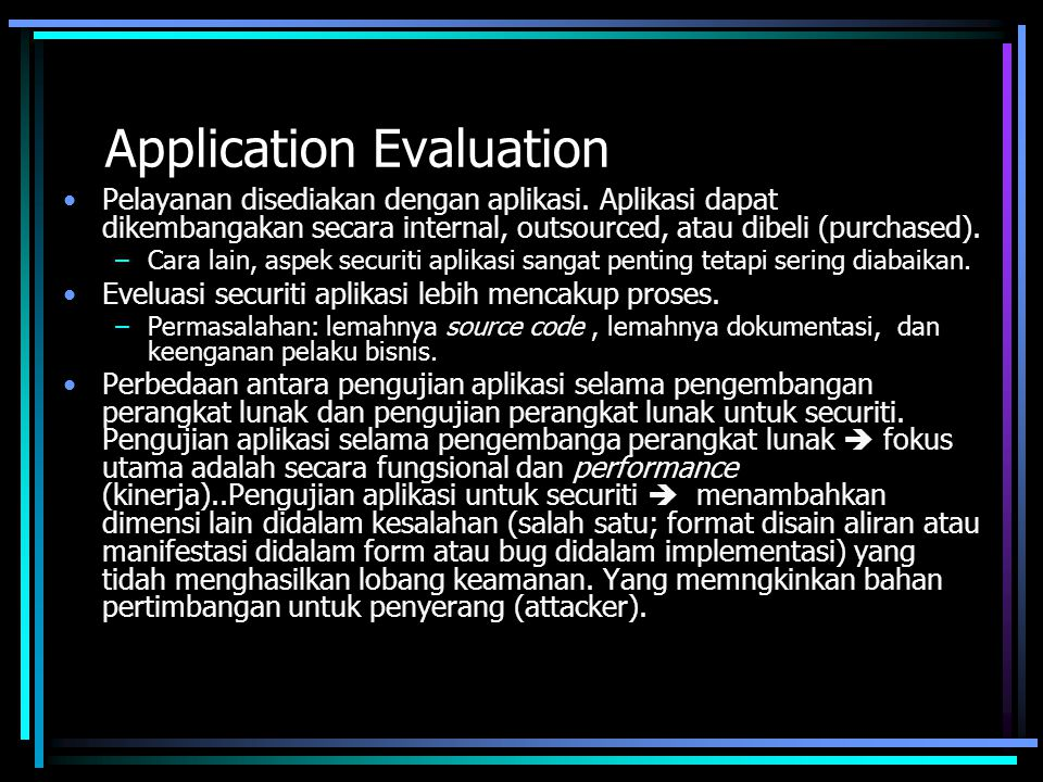 Application Evaluation
