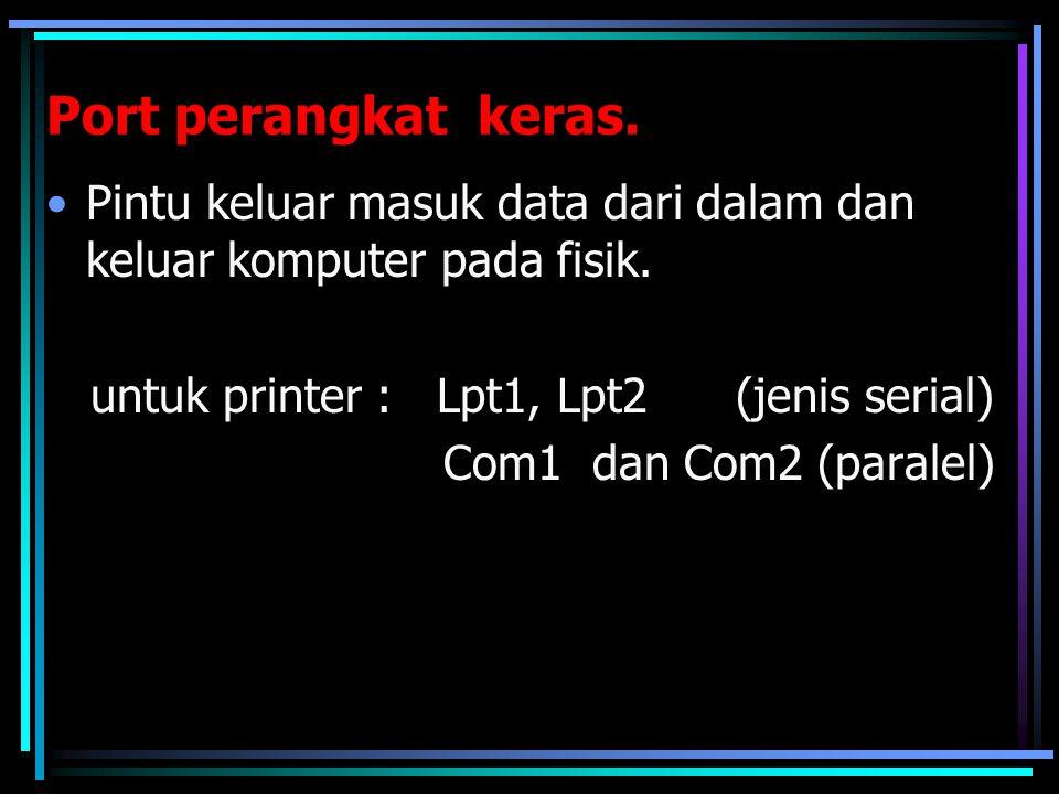 Port perangkat keras. Pintu keluar masuk data dari dalam dan keluar komputer pada fisik. untuk printer : Lpt1, Lpt2 (jenis serial)