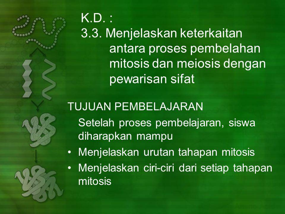 K. D. :. 3. 3. Menjelaskan keterkaitan. antara proses pembelahan