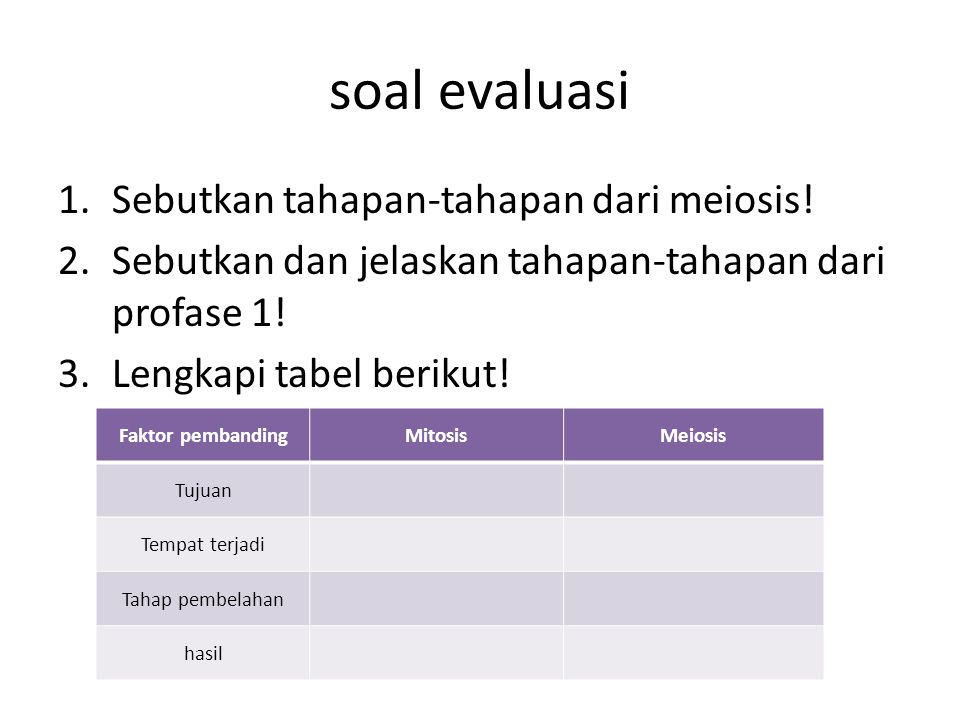 soal evaluasi Sebutkan tahapan-tahapan dari meiosis!