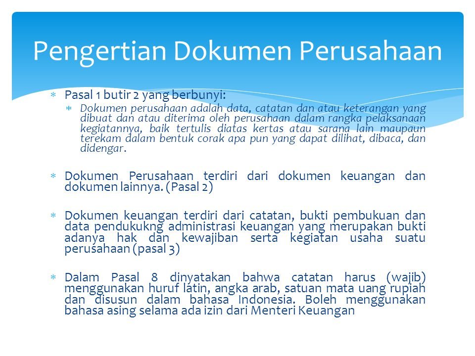 Pengertian Dokumen Perusahaan