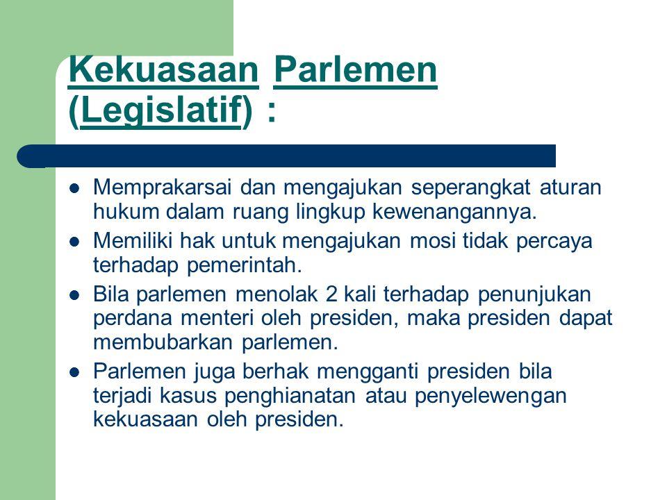 Kekuasaan Parlemen (Legislatif) :