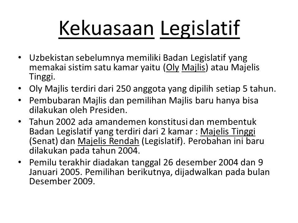Kekuasaan Legislatif Uzbekistan sebelumnya memiliki Badan Legislatif yang memakai sistim satu kamar yaitu (Oly Majlis) atau Majelis Tinggi.