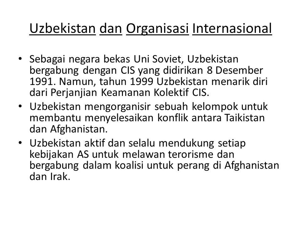 Uzbekistan dan Organisasi Internasional
