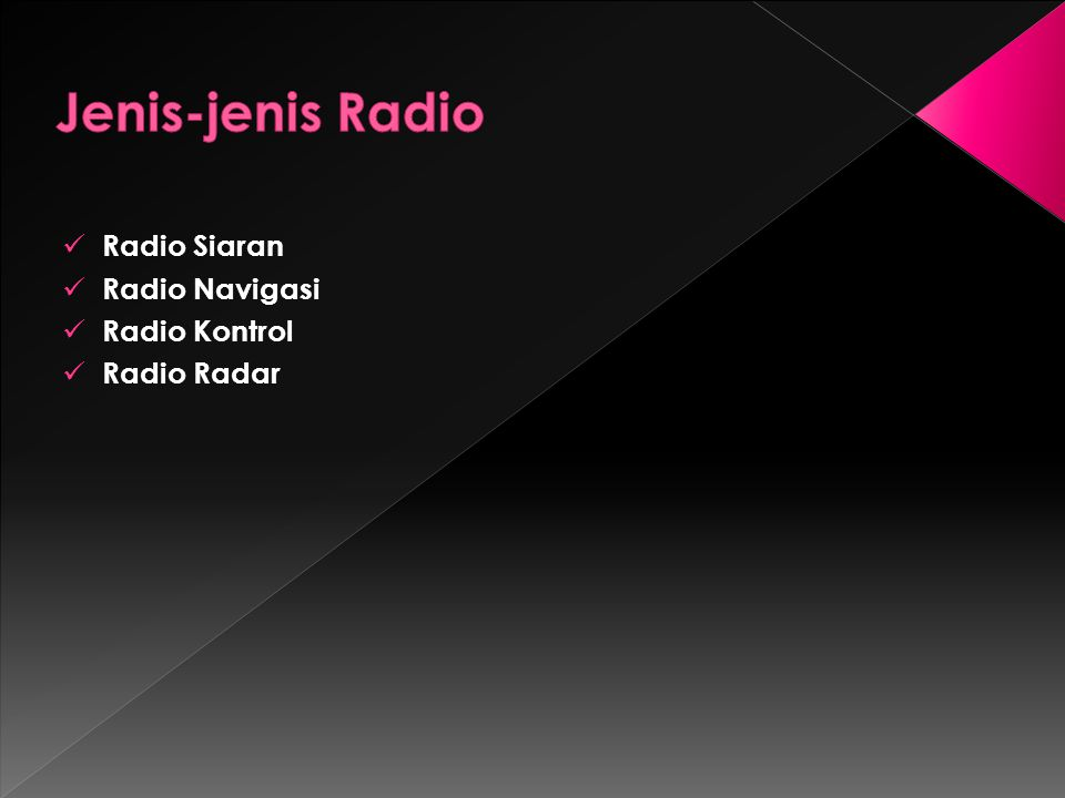 Jenis-jenis Radio Radio Siaran Radio Navigasi Radio Kontrol