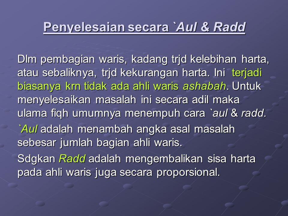 Penyelesaian secara `Aul & Radd
