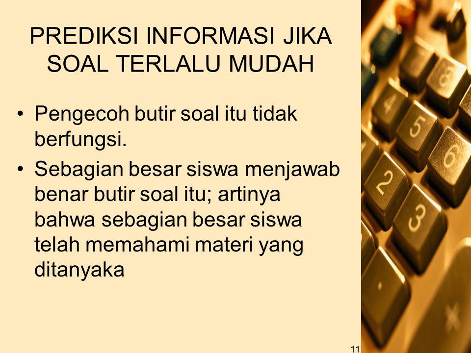 PREDIKSI INFORMASI JIKA SOAL TERLALU MUDAH