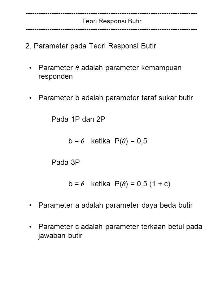 2. Parameter pada Teori Responsi Butir