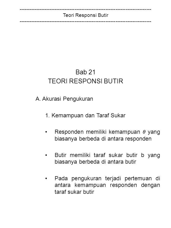 Bab 21 TEORI RESPONSI BUTIR A. Akurasi Pengukuran