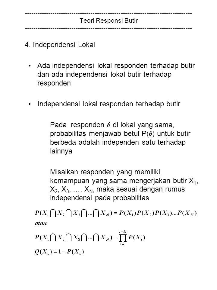 Independensi lokal responden terhadap butir