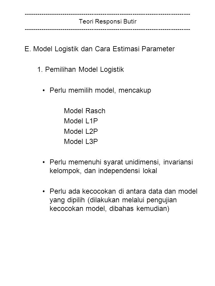 E. Model Logistik dan Cara Estimasi Parameter