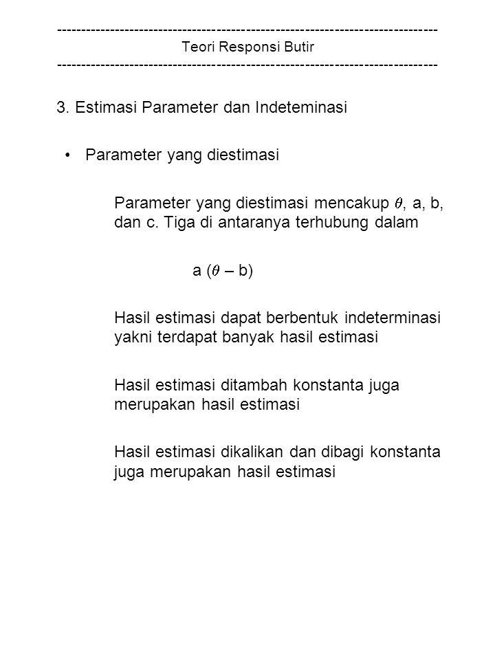 3. Estimasi Parameter dan Indeteminasi Parameter yang diestimasi