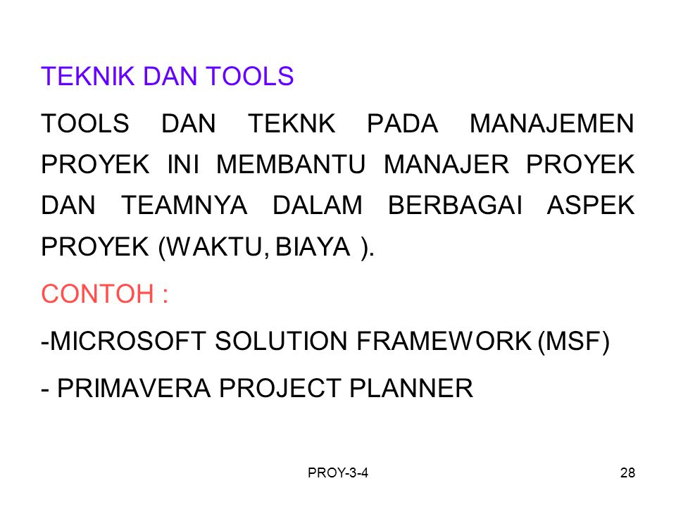 MICROSOFT SOLUTION FRAMEWORK (MSF) PRIMAVERA PROJECT PLANNER