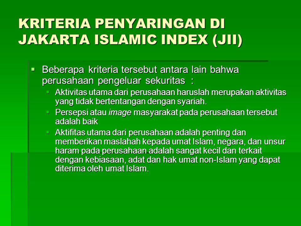 KRITERIA PENYARINGAN DI JAKARTA ISLAMIC INDEX (JII)