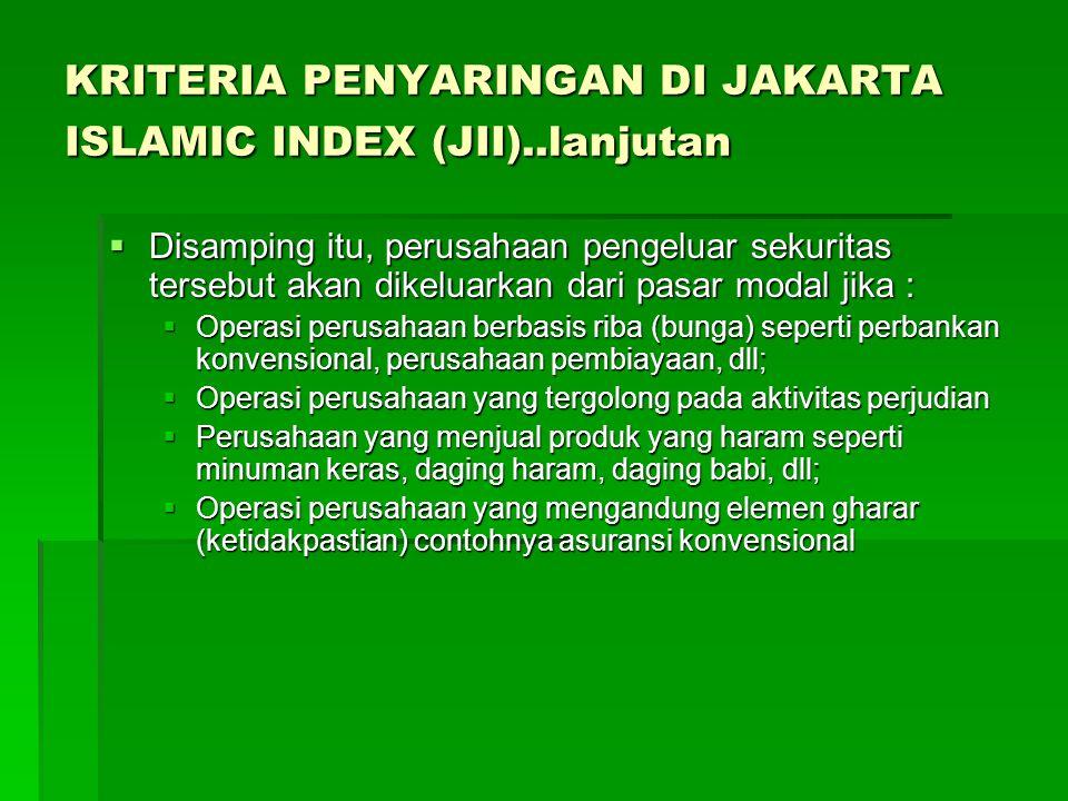 KRITERIA PENYARINGAN DI JAKARTA ISLAMIC INDEX (JII)..lanjutan
