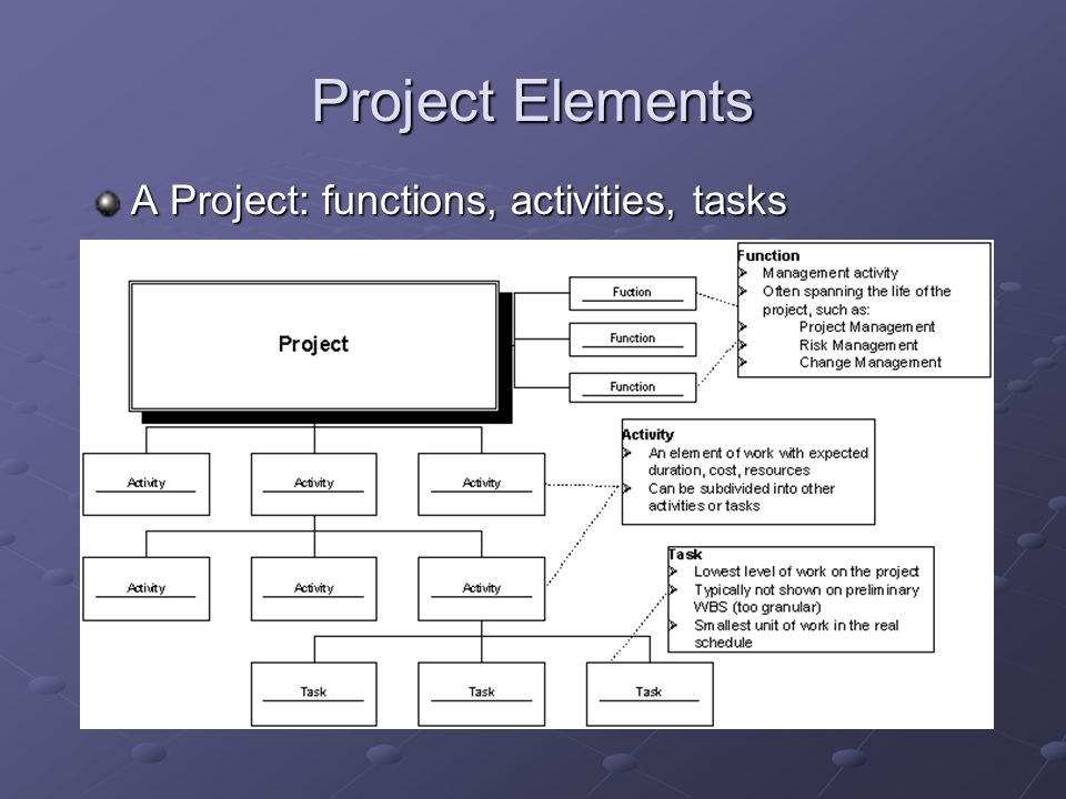 Project Elements A Project: functions, activities, tasks