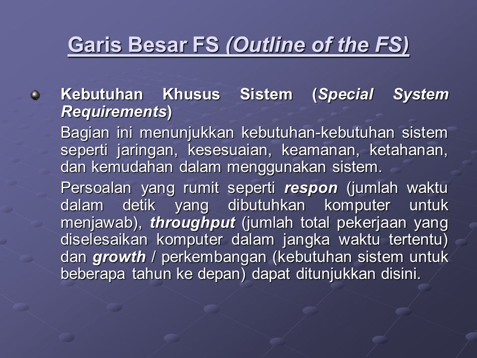 Garis Besar FS (Outline of the FS)