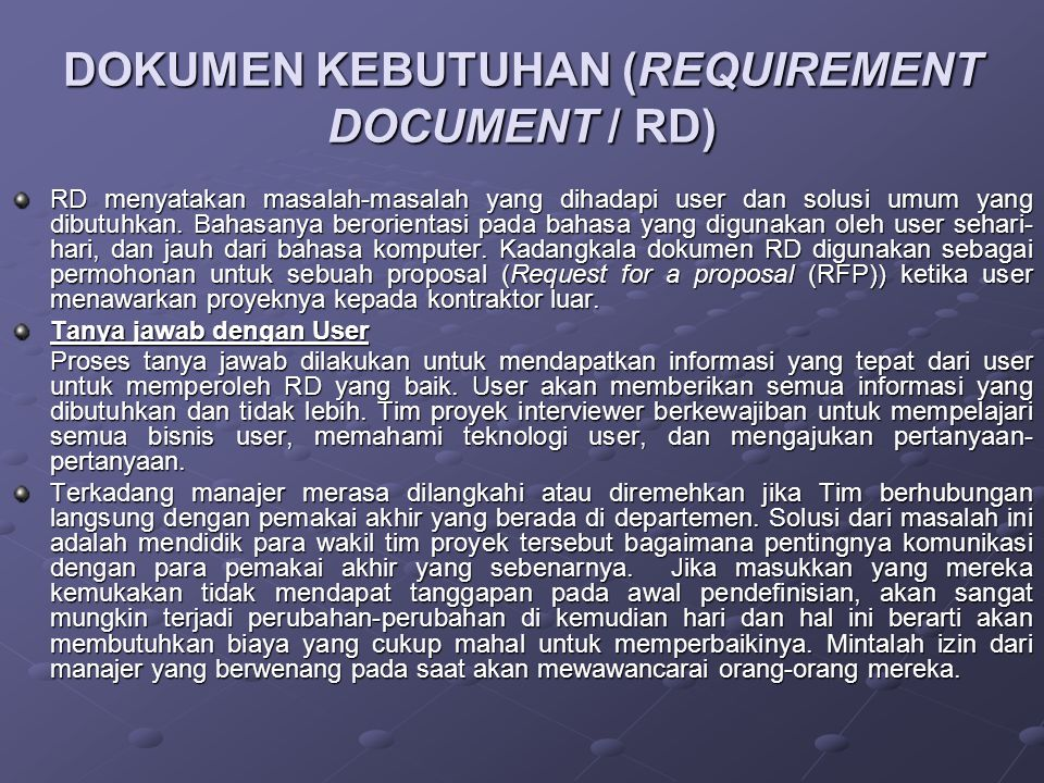 DOKUMEN KEBUTUHAN (REQUIREMENT DOCUMENT / RD)
