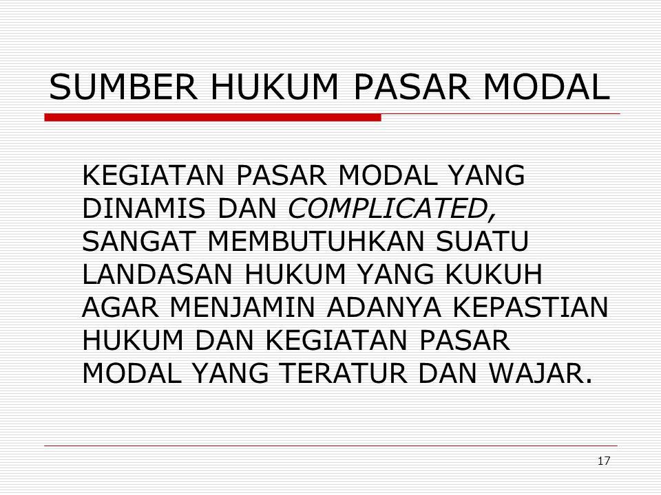 SUMBER HUKUM PASAR MODAL