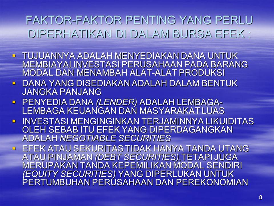 FAKTOR-FAKTOR PENTING YANG PERLU DIPERHATIKAN DI DALAM BURSA EFEK :