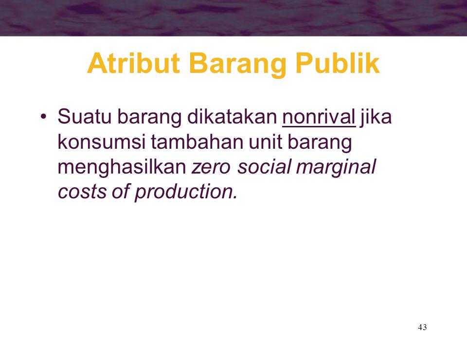 Atribut Barang Publik Suatu barang dikatakan nonrival jika konsumsi tambahan unit barang menghasilkan zero social marginal costs of production.