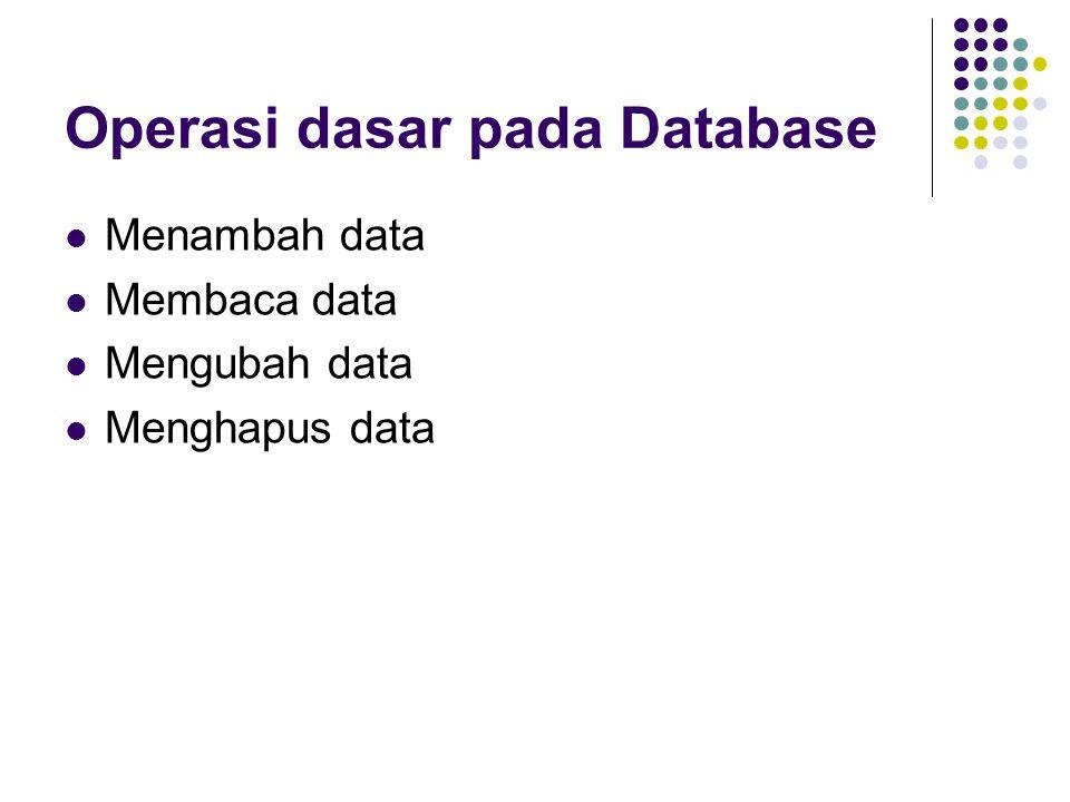 Operasi dasar pada Database