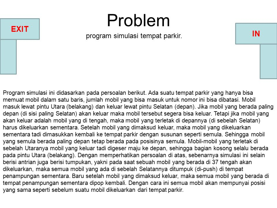 Problem EXIT IN program simulasi tempat parkir.