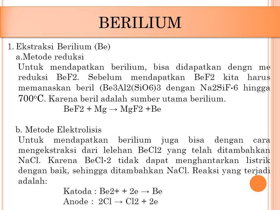 BERILIUM Ekstraksi Berilium (Be) a.Metode reduksi